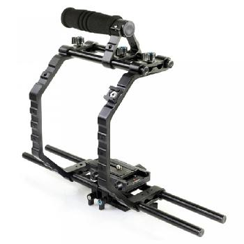 Camera cage for DSLRs & video cameras